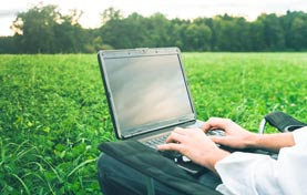 man working on laptop alone in grass field